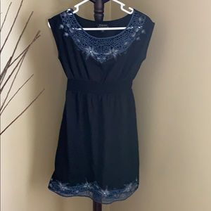 Dresses & Skirts - Black dress, with royal blue embroidery